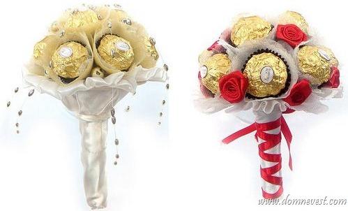 свадебные букеты из конфет оформление