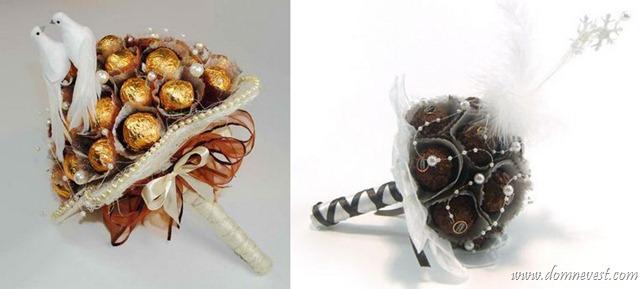 тематические букеты из конфет