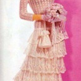 Вязаное свадебное платье и сумочка