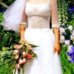 Вязаное свадебное платье и шапочка