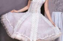 Вязаное пышное свадебное платье