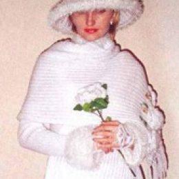 Вязаный свадебный костюм. Часть 1. Палантин
