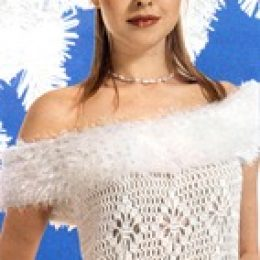 Вязаное свадебное платье с меховой отделкой