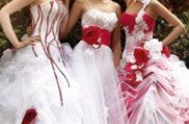 Бело-красные свадебные платья