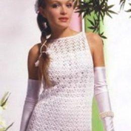Вязаное свадебное платье. Простая модель