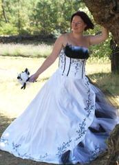 черно-белое свадебное платье для полных