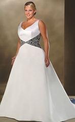 бело-черное свадебное платье для полных