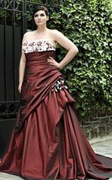 бордовое свадебное платье для полной невесты