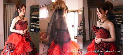 черная фата и красное свадебное платье