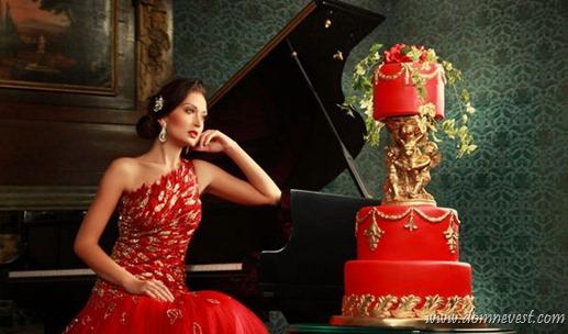 свадебный торт в стиле свадебного платья