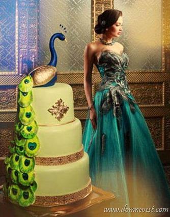 свадебный торт павлин и платье