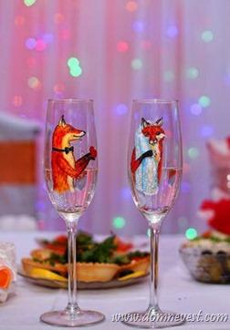 свадебные бокалы лисички