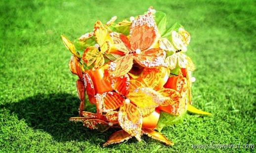 свадебный букет из бабочек